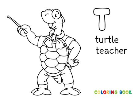 Turtle teacher ABC coloring book. Alphabet T Illustration