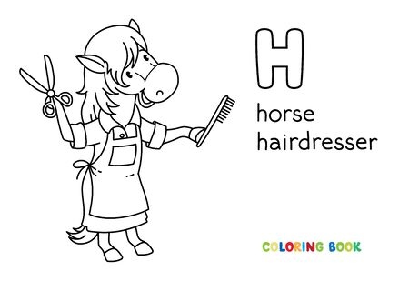 Horse hairdresser ABC coloring book. Alphabet H