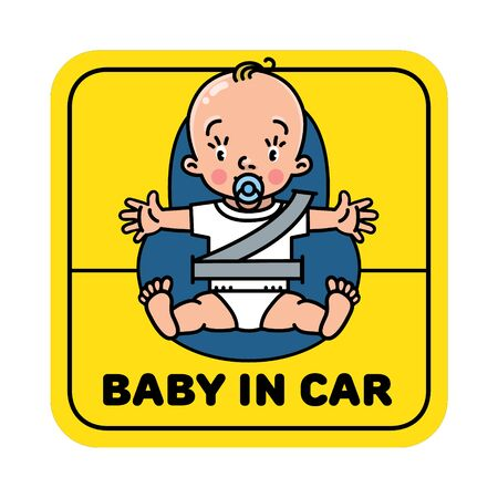 Baby in car seat. Back window sticker or sign
