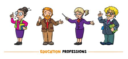 Education professions Vector funny character set
