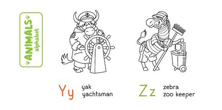 Animals with professions ABC. Coloring book of funny zebra zoo keeper and yack yachtsman. Children vector illustration. Alphabet Y, Z for kids 向量圖像