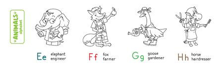Animals with professions ABC. Coloring book of funny elephant engeneer, fox farmer, goose gardener and horse hairdresser. Children vector illustration. Alphabet E, F, G, H for kids Illusztráció