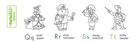 Animals with professions ABC. Coloring book of funny quail queen, rhino railroader, sheep scientist and turtle teacher. Children vector illustration. Alphabet Q, R, S, T for kids