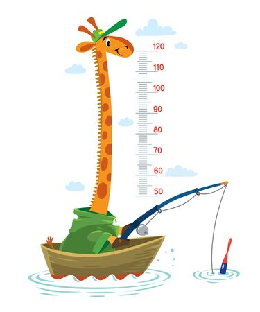 Funny giraffe fisherman or fisher in coat and cap in a fishing boat in the sea. Height chart or meter wall or wall sticker. Children vector illustration with scale 50 to 120 cm to measure growth
