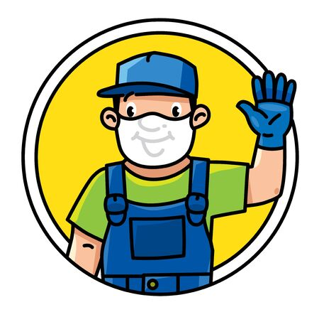 Funny repairman or plumber or worker emblem or icon. wavin by hand. Technical service. Vector illustration. Cartoon character in a medical mask and gloves, protected from viruses