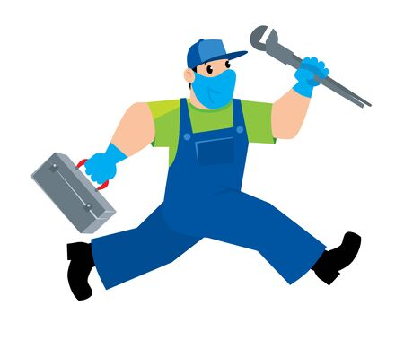 Funny repairman or plumber with the tools is running. Technical service. Vector illustration. Cartoon character in a medical mask and gloves, protected from viruses Ilustrace