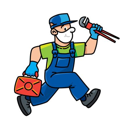 Funny repairman or plumber with the tools is running. Technical service. Vector illustration. Cartoon character in a medical mask and gloves, protected from viruses