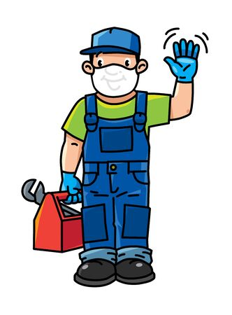 Funny repairman or plumber with the tools wavin by hand. Technical service. Vector illustration. Cartoon character in a medical mask and gloves, protected from viruses