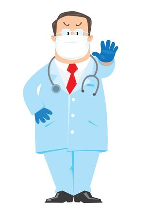 Funny doctor in white coat in a protective mask and gloves. Children vector illustration