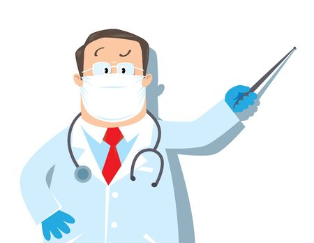 Vector illustration with with funny man doctor in a protective mask and gloves in white coat with stethoscope, showing by pointer. 向量圖像