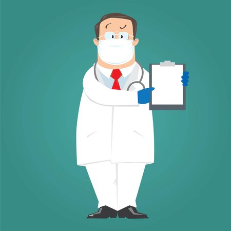 Funny doctor in white coat in a protective mask and gloves on blue-green background shows by finger on blank with prescription. Children vector illustration