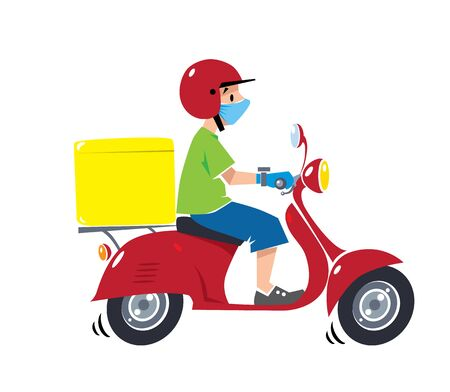 Delivery courier on scooter in protective mask and gloves Vettoriali