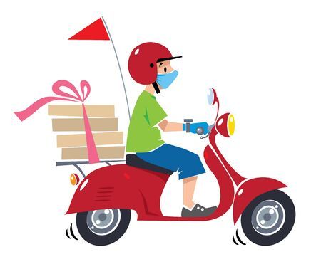Pizza delivery courier on scooter in protective mask and gloves