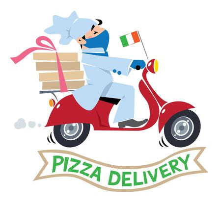 Funny pizza chef or courier on scooter in protective mask and gloves Pizza delivery logo