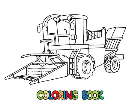 Funny combine harvester with eyes. Coloring book