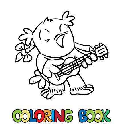 Coloring book of little funny owl with ukulele