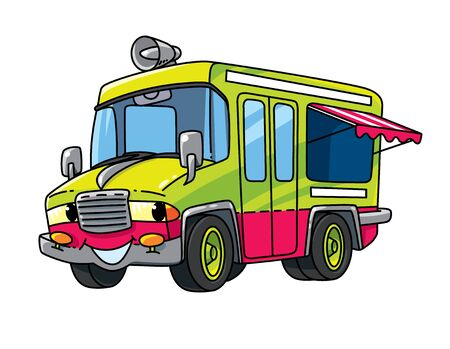 Funny ice cream truck. Car with eyes Illustration