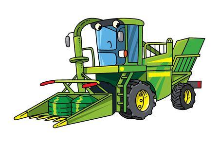 Funny combine harvester Car with eyes illustration Vector Illustration