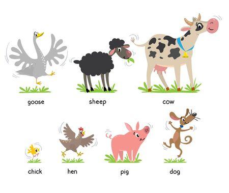 Funny farm animals kids vector illustration set Иллюстрация