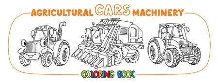 Cute cars coloring book set Agricultural machinery Stock Illustratie