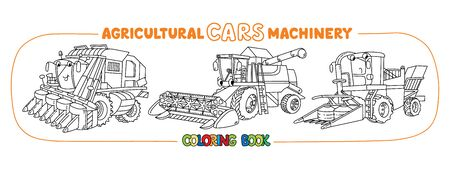 Agricultural machinery coloring book funny car set