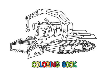 Funny Snowcat car with eyes. Coloring book