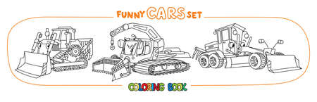 Funny small cars with eyes. Coloring book set Illustration