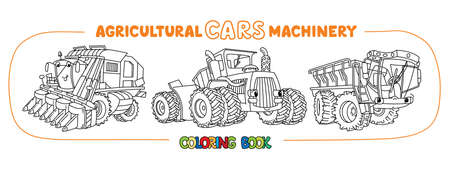 Agricultural machinery funny cars coloring book set