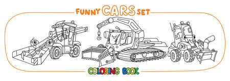 Funny small cars with eyes. Coloring book set Ilustrace