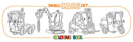 Scooter, forklift truck, municipal car and drilling truck. Small funny vector cute cars set with eyes and mouth. Coloring book set for kids. Children vector illustration