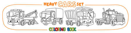 Truck, lorry, evacuator or tow truck and wagon. Small funny vector cute cars with eyes and mouth. Coloring book set for kids. Children vector illustration