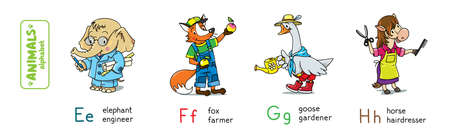 Animals with professions. Funny alphabet or ABC.