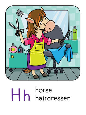 Horse hairdresser Animals with professions ABC. H Illustration