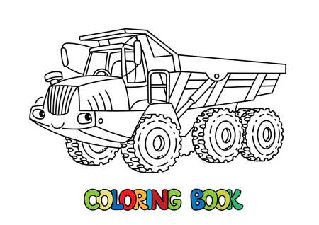 Articulated dump truck. Funny giant heavy cute cars with eyes and mouth. Coloring book set for kids. Children vector illustration