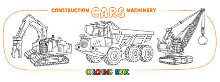 Articulated dump truck, destructing excavator and wrecking ball truck coloring book set for kids. Small funny vector cute cars with eyes and mouth. Children vector illustration. Heavy machinery