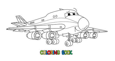 Funny cargo plane with eyes. Coloring book Vettoriali