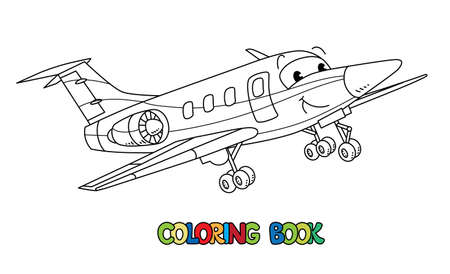 Funny business jet plane with eyes. Coloring book