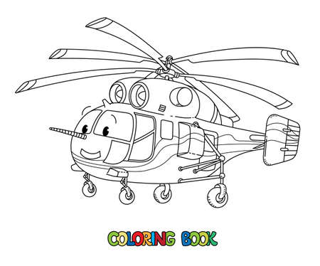 Funny cargo helicopter with eyes. Coloring book