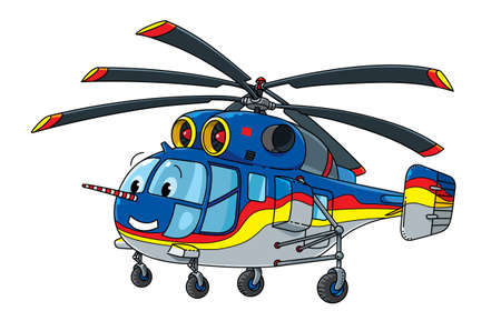Funny cargo helicopter with eyes. Kids illustration