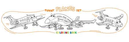 Funny light aircraft planes coloring book set Stock Illustratie