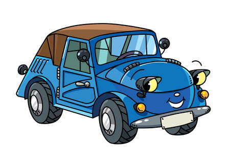 Funny small retro car with eyes and mouth.