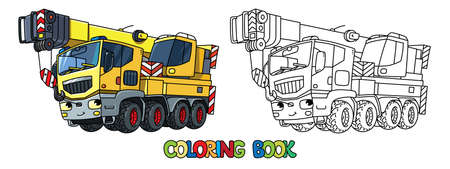 Mobile crane. Truck crane or autocrane coloring book for kids. Small funny vector cute car with eyes and mouth. Children vector illustration Çizim