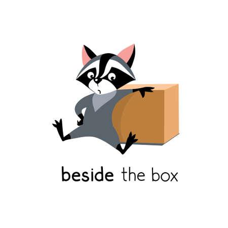 Preposition of place. Raccoon beside the box Ilustración de vector