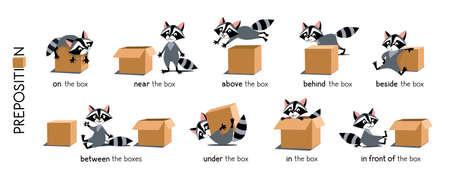 Preposition of place set. Raccoon and the box Vektoros illusztráció