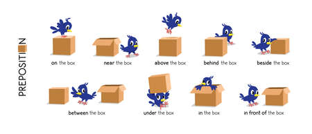 Preposition of place set. Bird and the box Vettoriali