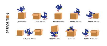 Preposition of place set. Bird and the box Vektoros illusztráció