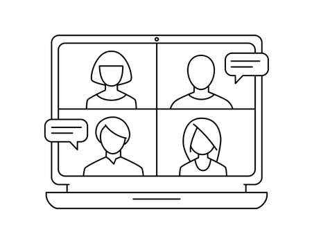 Conference video call meeting monochrome vector icon