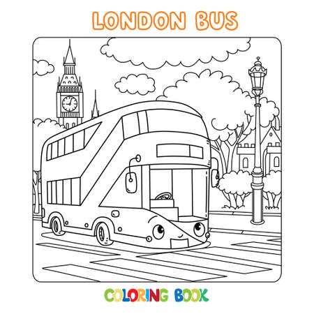 Funny London double decker bus. Coloring book