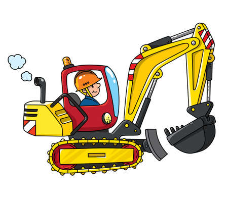 Excavator with a driver, construction worker. Vector cartoon for kids. Small funny cute car with an operator. Children illustration. Heavy machinery