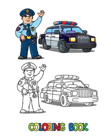 Police car and policeman in uniform waving by hand. Coloring book. Vector character. Children vector illustration